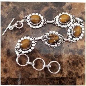 """Jewelry - Golden Brown Tigers Eye Bracelet 8.33"""" long"""